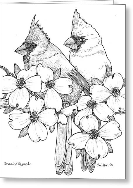 Cardinals And Dogwoods Greeting Card