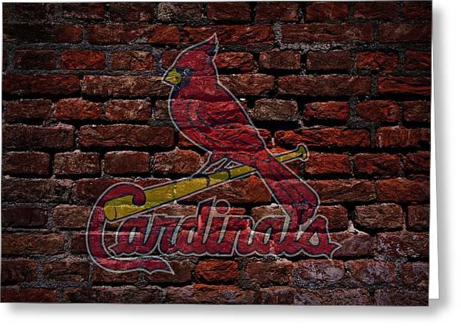 Cardinals Baseball Graffiti On Brick  Greeting Card