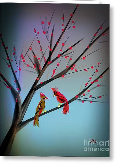 Cardinals In The Flowering Crab Greeting Card