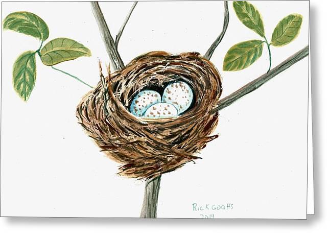Cardinal's Nest Greeting Card by Richard Goohs