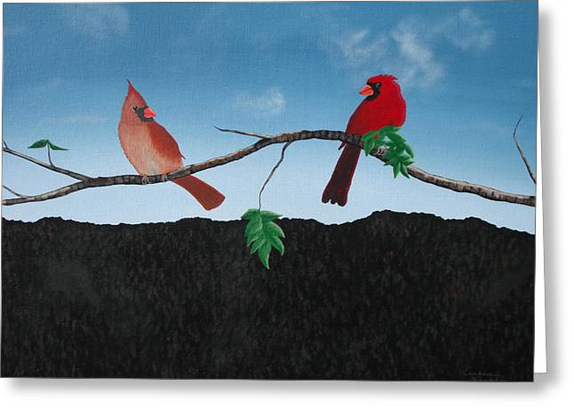 Cardinals No. 2 Greeting Card by Candace Shockley