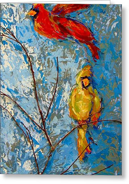 Cardinals On Twig Greeting Card by Kat Griffin