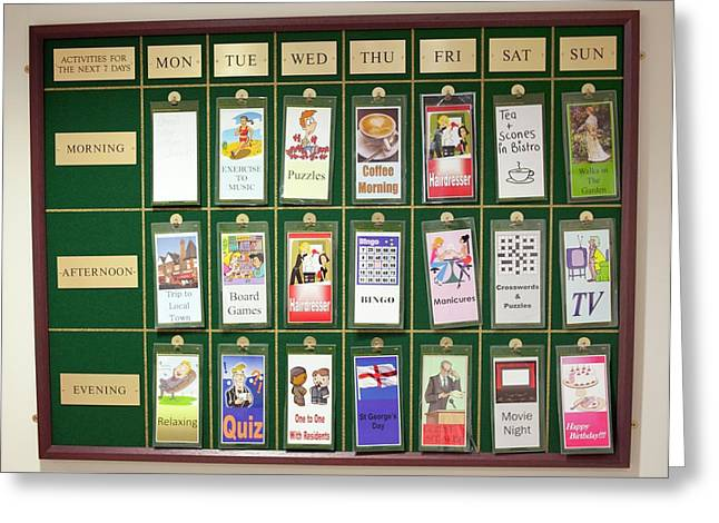 Care Home Activities Timetable Greeting Card