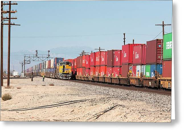 Cargo Container Trains Greeting Card by Jim West