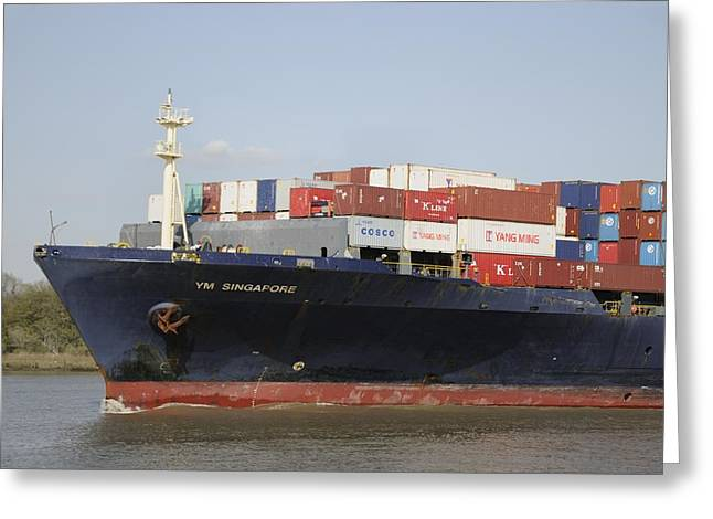 Cargo Ship On The River Greeting Card by Bradford Martin