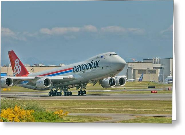 Cargolux 747-8f Greeting Card by Jeff Cook