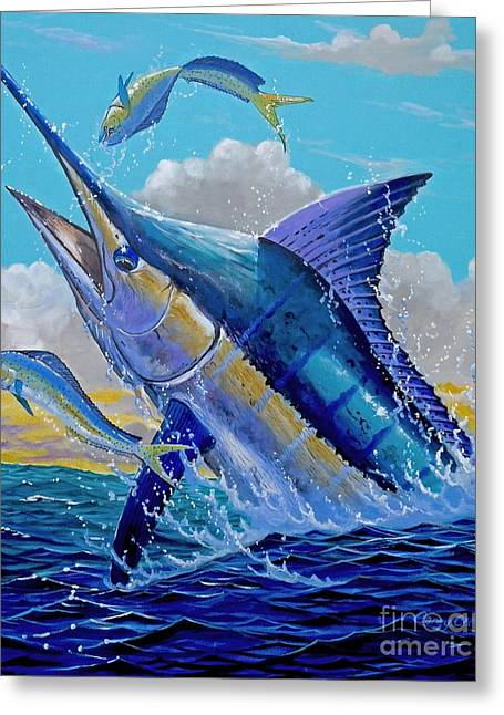 Carib Blue Greeting Card by Carey Chen