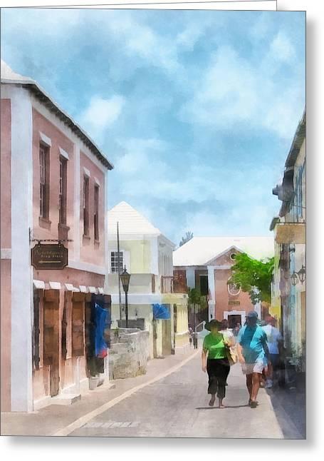 Caribbean - A Street In St. George's Bermuda Greeting Card by Susan Savad