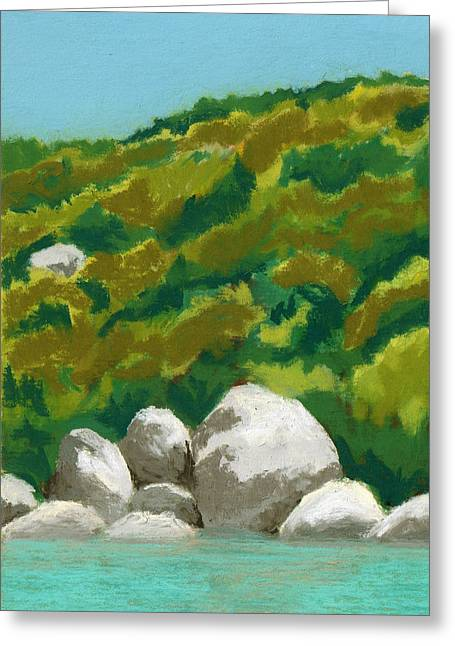 Caribbean Anchorage Greeting Card by Diane Cutter