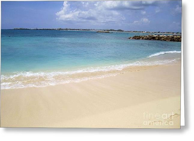Caribbean Beach Front Greeting Card by Fiona Kennard