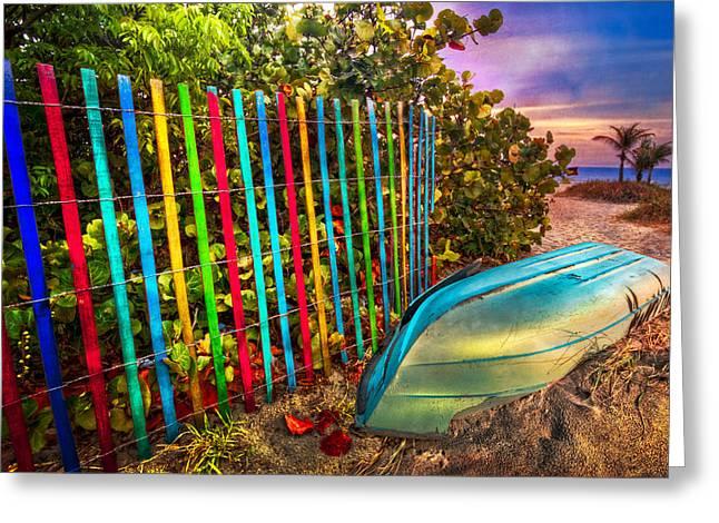 Caribbean Colors Greeting Card by Debra and Dave Vanderlaan