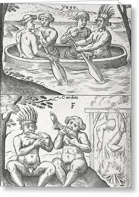 Caribbean Peoples, 17th Century Greeting Card by Science Photo Library