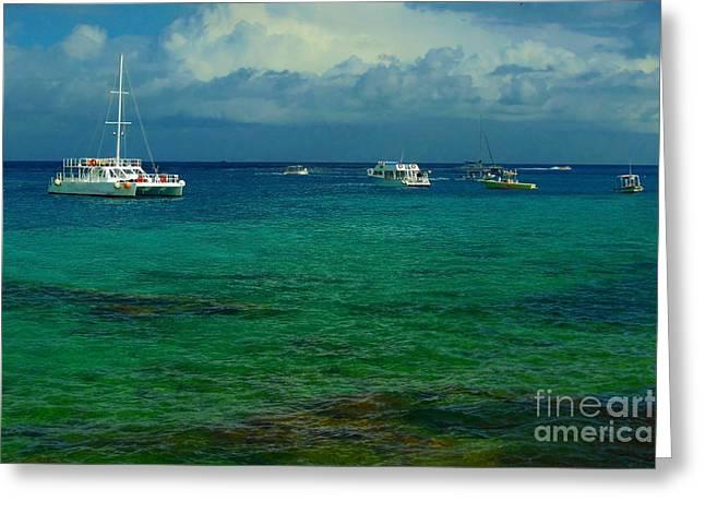 Caribbean Snorkelling Boats Greeting Card by Rachel Duchesne