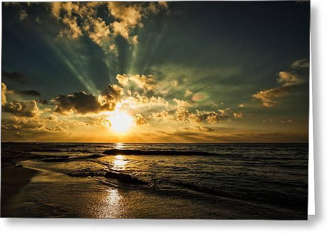 Caribbean Sunrise Greeting Card by Stuart Deacon