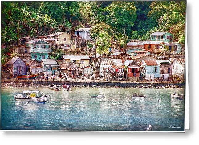 Greeting Card featuring the photograph Caribbean Village by Hanny Heim