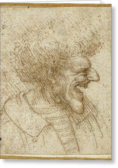 Caricature Of A Man With Bushy Hair Leonardo Da Vinci Greeting Card by Litz Collection