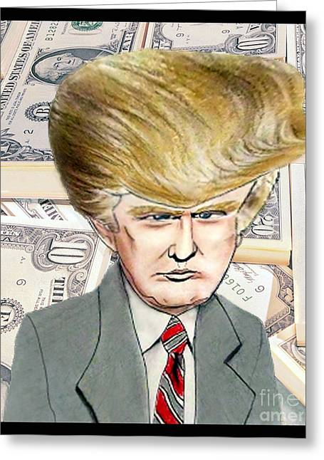 Caricature Of Donald Trump Greeting Card by Jim Fitzpatrick