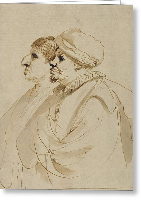 Caricature Of Two Men Seen In Profile Guercino Giovanni Greeting Card by Litz Collection