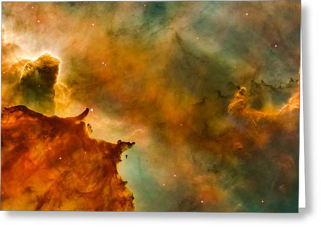 Carina Nebula Details - Great Clouds Greeting Card by Marco Oliveira