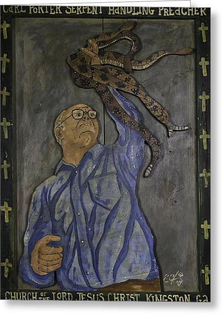 Greeting Card featuring the painting Carl Porter - Serpent Handling Preacher by Eric Cunningham