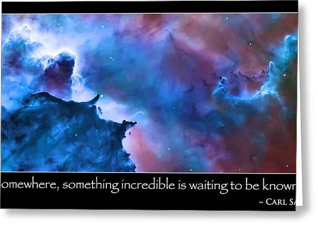 Carl Sagan Quote And Carina Nebula Greeting Card