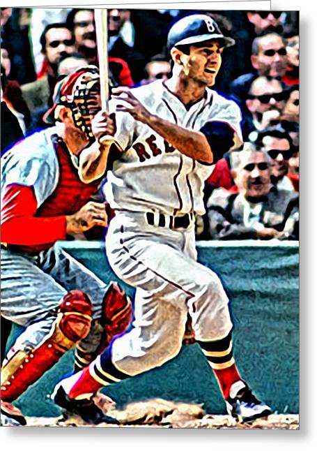 Greeting Card featuring the painting Carl Yastrzemski by Florian Rodarte