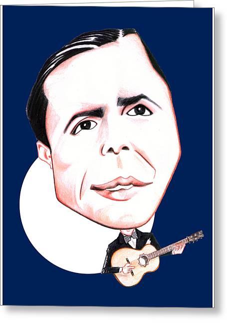 Carlos Gardel Illustration Greeting Card by Diego Abelenda