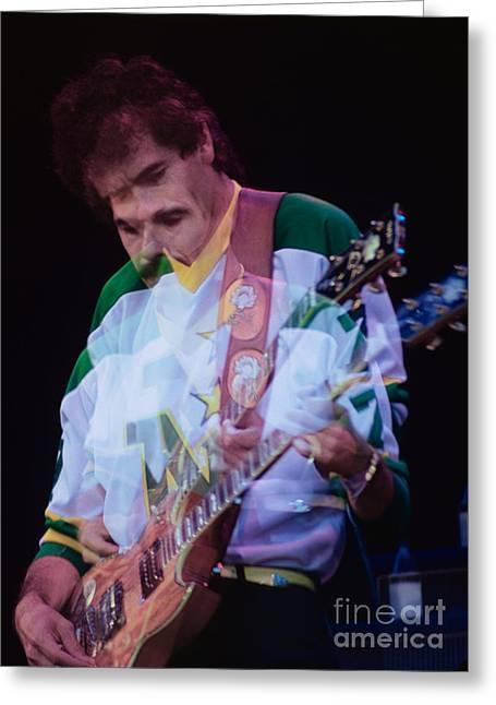 Carlos Santana At The Berkeley Greek Theater-september 13th 1980 Greeting Card by Daniel Larsen