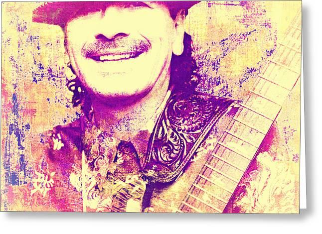 Carlos Santana Pop Art Poster Greeting Card by Catherine Arnas