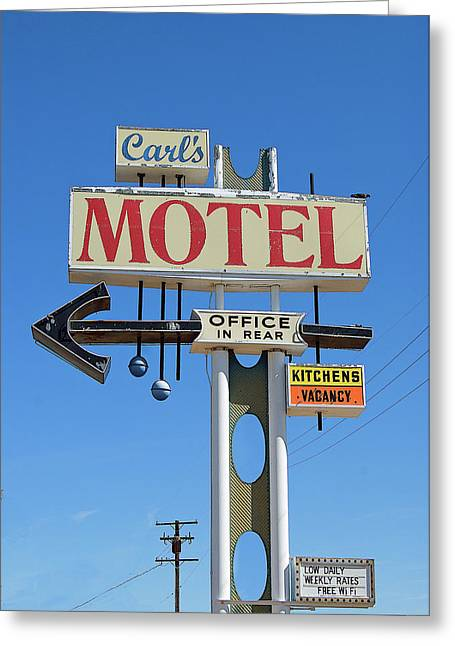 Carl's Motel Greeting Card by Charlette Miller