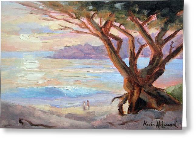 Carmel Beach Winter Sunset Greeting Card by Karin  Leonard