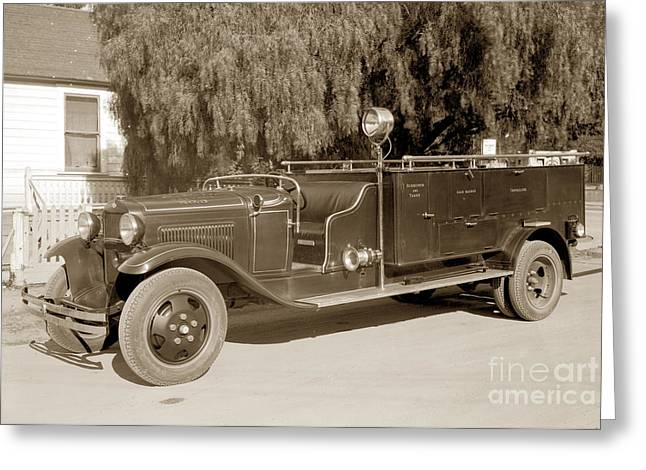 Carmel Fire Department Engine No. 3  Circa 1933 Greeting Card by California Views Mr Pat Hathaway Archives