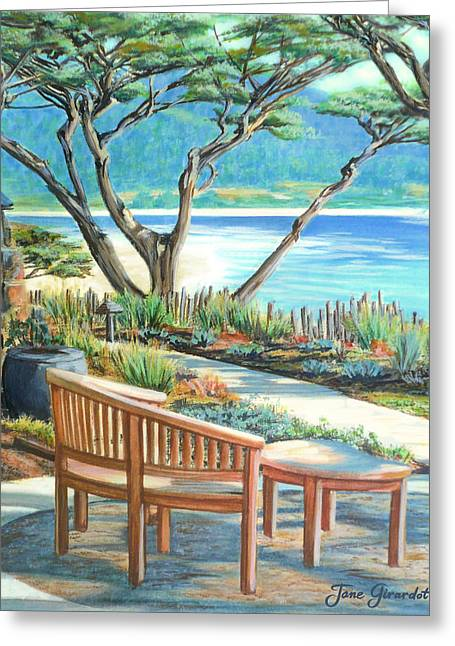 Greeting Card featuring the painting Carmel Lagoon View by Jane Girardot