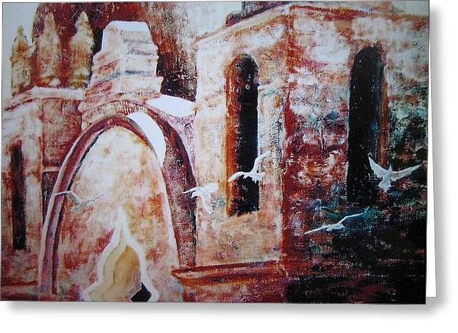 Greeting Card featuring the painting Carmel Mission by John  Svenson