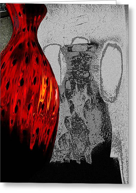 Carmellas Red Vase 2 Greeting Card