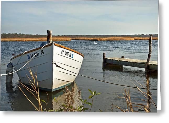 Carmens River Rowboat Greeting Card by Alida Thorpe