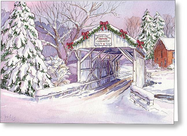 Carmichaels Covered Bridge Greeting Card by Leslie Fehling
