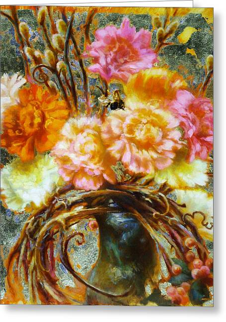 Carnation And Bee Greeting Card by John Murdoch