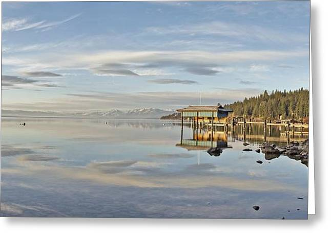 Carnelian Bay Morning Panorama Lake Tahoe Larry Darnell Greeting Card by Larry Darnell