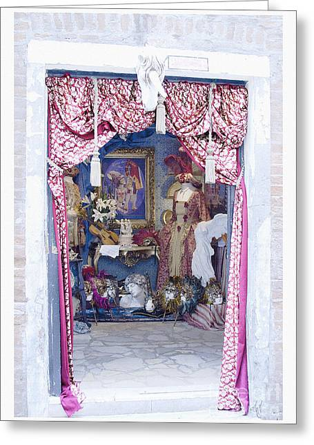 Greeting Card featuring the digital art Carnevale Shop In Venice Italy by Victoria Harrington
