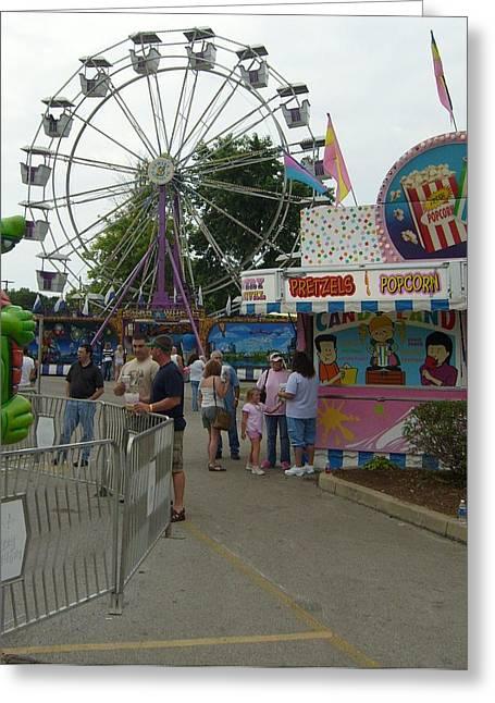 Carnival Ferris Wheel Greeting Card by Ann Willmore