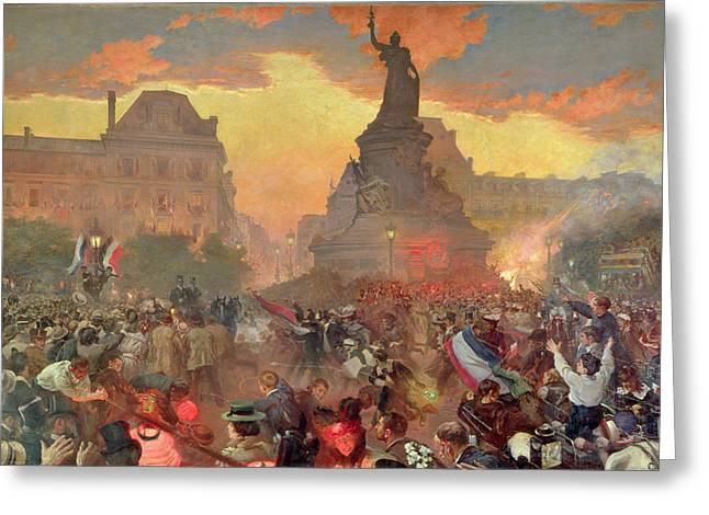 Carnival In Paris In Honour Of The Russian Navy, 5th October 1893, 1900 Oil On Canvas Greeting Card
