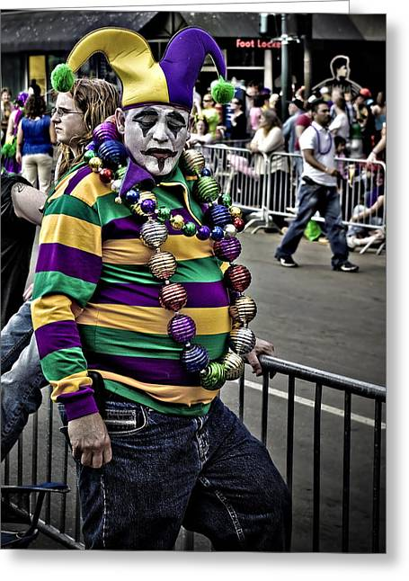 Carnival Jester Greeting Card by Ray Devlin