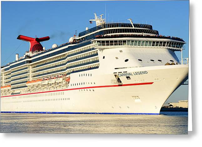 Carnival Legend Leaving Tampa Florida Greeting Card by David Lee Thompson