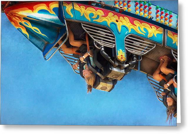 Carnival - Ride - The Thrill Of The Carnival  Greeting Card by Mike Savad