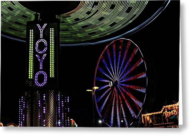 Carnival Rides Greeting Card by Jp Grace