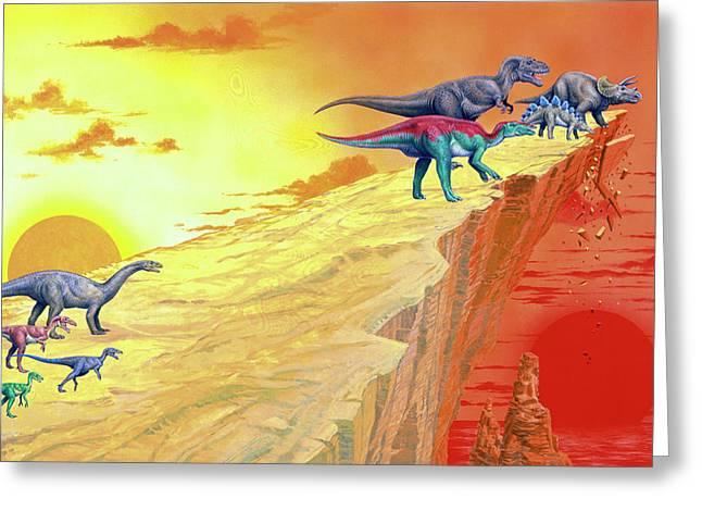 Carnivorous Dinosaurs Hunting Herbivores Greeting Card by Deagostini/uig