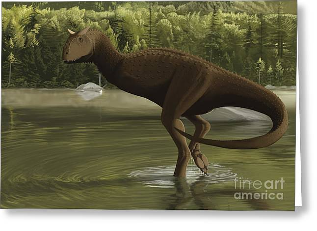 Carnotaurus Searching For Food Greeting Card by Michele Dessi