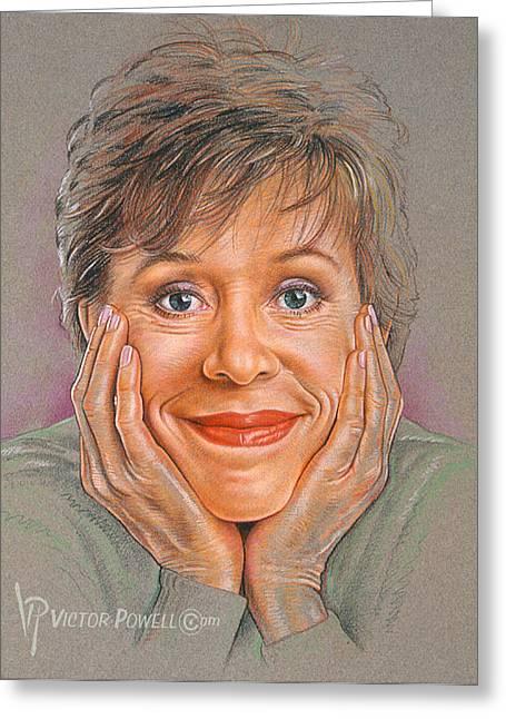 Carol Burnett Portrait Greeting Card by Victor Powell
