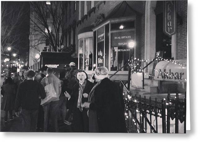Greeting Card featuring the photograph Carolers On North Charles Street December 2013 by Toni Martsoukos